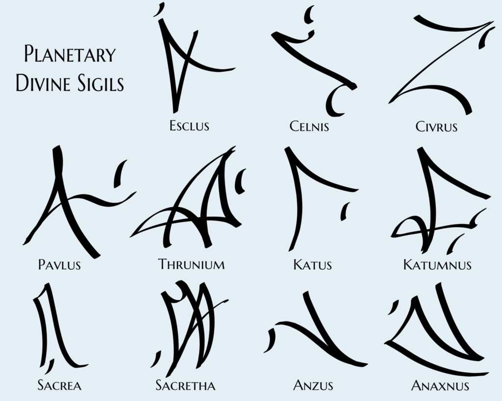 the planetary sigils in northern astrology in the Rook and Rose trilogy